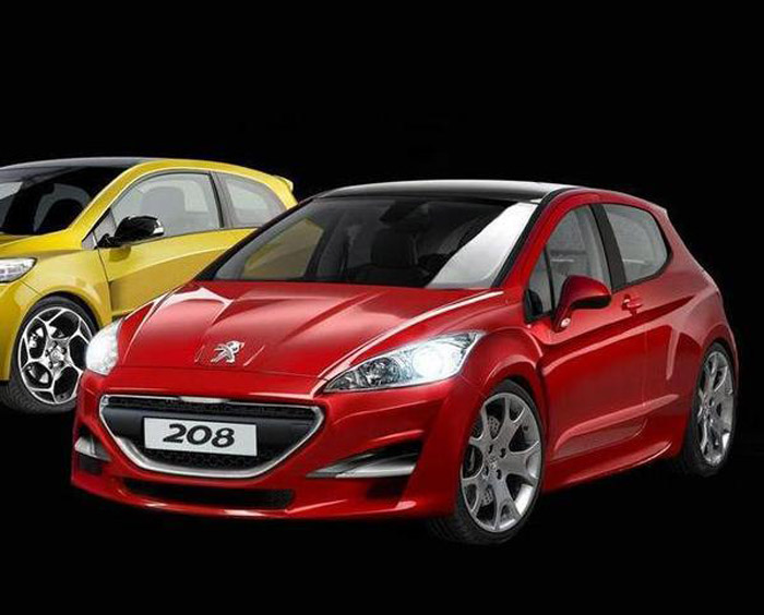 Peugeot 208 Amarelo e Vermelho